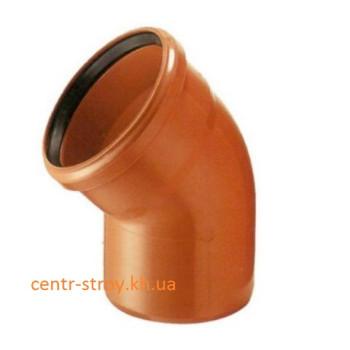Уголок 110 мм (колено) канализационный наружный (45 градусов)