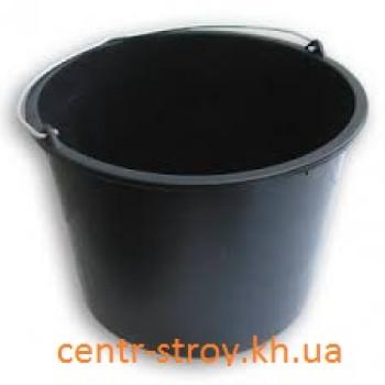 Ведро пластмассовое черное (10 л)